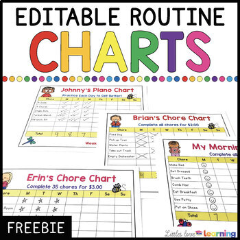 FREE Chore Charts for Home--EDITABLE! by Littles Love Literacy TpT