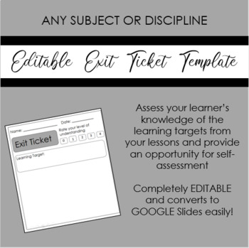 Exit Ticket Template Worksheets  Teaching Resources TpT