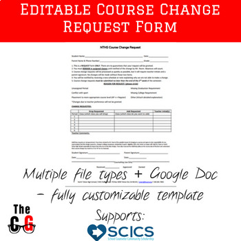 FREE Editable High School or Middle School Course Request Change Form