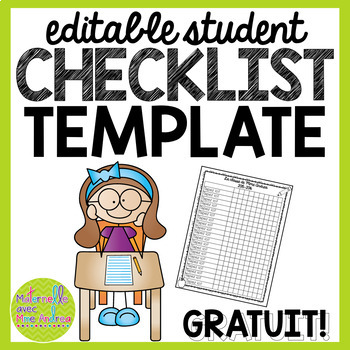 FREE Editable student checklist template by Maternelle avec Mme Andrea - editable checklist template