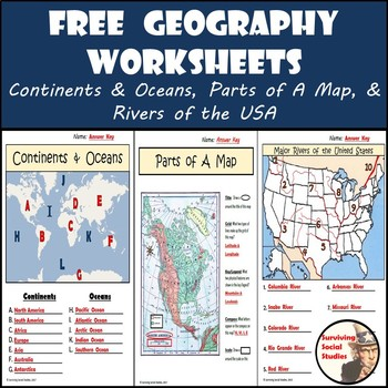 FREE Geography Worksheets Continents/Oceans, USA Rivers,  Parts of
