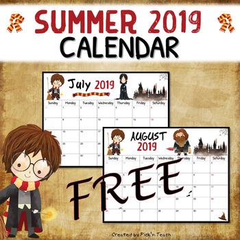 FREE - Summer 2018 calendar - Planner - for Harry Potter fans by