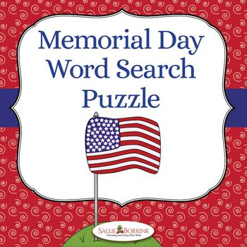 Memorial Day Word Search by Sallie Borrink Teachers Pay Teachers