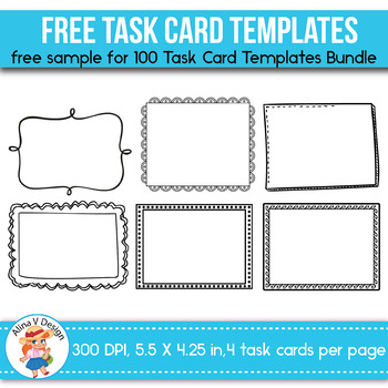 FREE SAMPLE of 100 Task Card Templates EDITABLE by Alina V Design - free cards templates