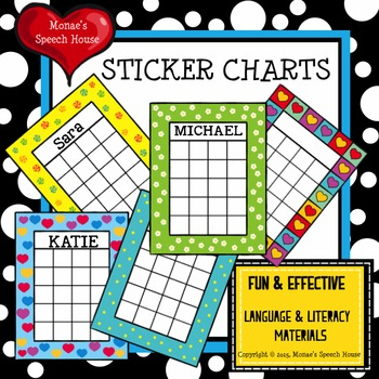 FREE STICKER CHARTS by Monae\u0027s Speech House Teachers Pay Teachers