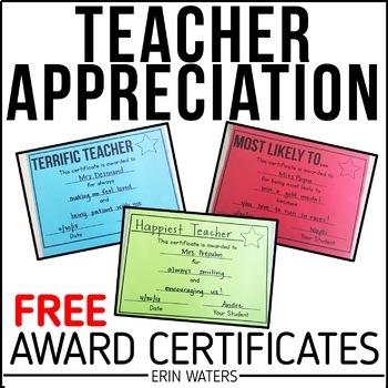 FREE Teacher Appreciation Award Certificates by Erin Waters TpT - free award certificates