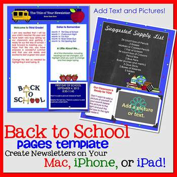 FREE!! PAGES WELCOME BACK TO SCHOOL Newsletter Template - iPads