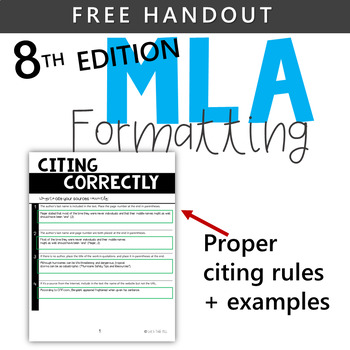 FREE HANDOUT - MLA 8TH EDITION CITATION RULES by Let\u0027s Talk ELL TpT