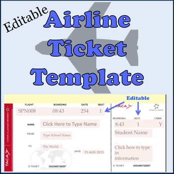 Airline Plane Ticket Template by SpanishPlans Teachers Pay Teachers