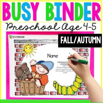 Fall School Printable Learning Busy Book Preschool Age 4-5 - CUSTOM