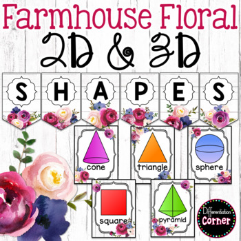 Farmhouse Classroom Decor Shape Posters by Differentiation Corner