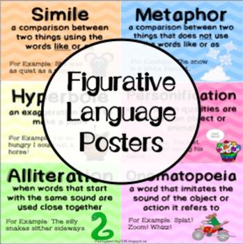 Figurative Language Posters Simile, Metaphor, Hyperbole, Idiom