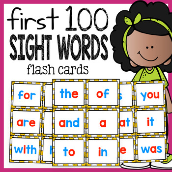 Sight Words Cards with Red Vowels - First 100 Sight Words by The