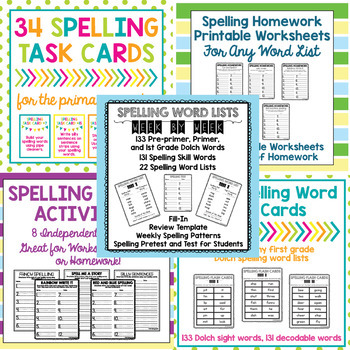 Dolch Spelling Word List, Homework,  Center Year-Long BUNDLE TpT