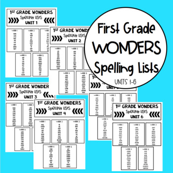 First Grade Spelling Lists for Wonders by The Tally Teacher TpT