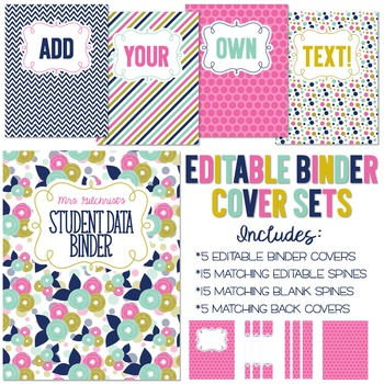 Five Editable Binder Cover Sets - Great for Teacher Binders, Data