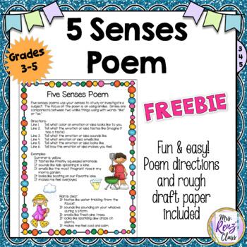Five Senses Poem (FREEBIE!) by Mrs Renz Class TpT