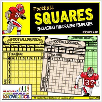 Football Squares Engaging Fundraiser Templates TpT