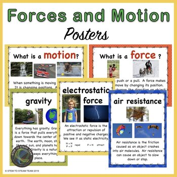 Forces and Motion Posters for elementary grades by STEM To STEAM Trio