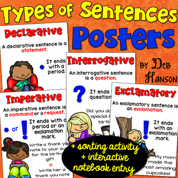 Types of Sentences Posters FREE! by Deb Hanson TpT