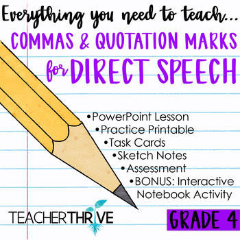 Fourth Grade Grammar and Language Unit on Commas  Quotations for