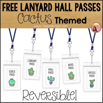 Free Lanyard Hall Passes - Cactus Theme by Nyla\u0027s Crafty Teaching