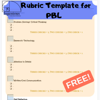 Free Rubric Sample  Template for Project-Based Learning TpT