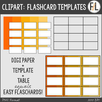 Easy Flashcard Templates Clipart by Fun for Learning TpT