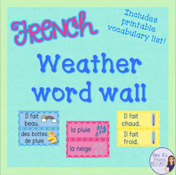 French weather word wall/ Mur de mots le temps by Mme R\u0027s French