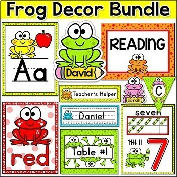 Frog Theme Decor Bundle Job Labels, Binder Covers, Name Tags etc