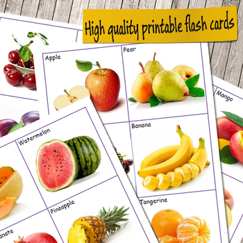 Fruits Flashcards (vocabulary flash cards) by Valerie Fabre TpT
