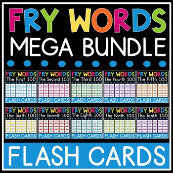 Fry Sight Word Flash Cards - 1,000 Sight Words Bundle TpT - flash cards words