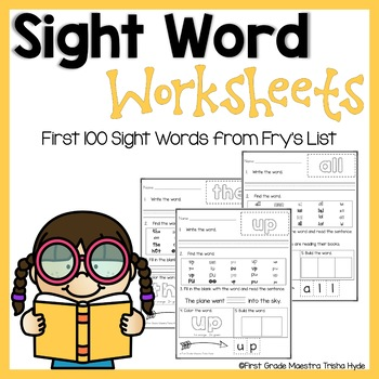 Sight Words Frys First 100 Practice Worksheets TpT