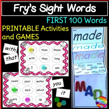 Fry\u0027s Sight Words Bingo Games and Activities First 100 words by