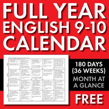 Full Year Calendar for High School English 9-10, 180 Days of CCSS