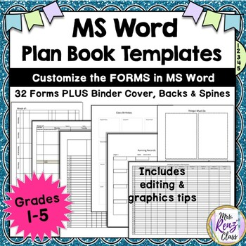 Teacher Plan Book Templates (FULLY Editable in MS Word) Create Your