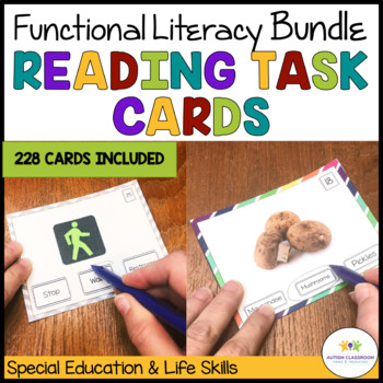 Reading Functional Sight Words Task Cards Bundle {Special Ed; Autism}