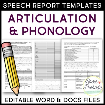 Articulation  Phonology Speech Evaluation Report Template by Rosie