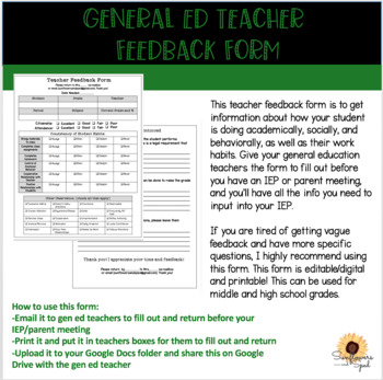 Gen Ed Teacher Feedback Form/Student Feedback Form for IEP\u0027s TpT