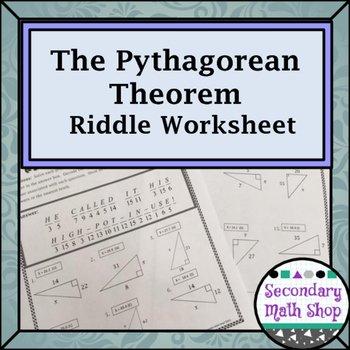 Right Triangles - Geometry Pythagorean Theorem Riddle Worksheet TpT