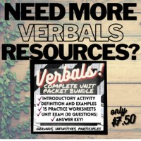 Grammar Verbals Worksheets: GERUNDS by Your Best Drafts | TpT
