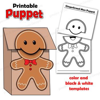 Gingerbread Man Craft Activity Printable Paper Bag Puppet Templates - puppet templates