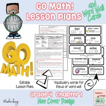 Go Math Lesson Plans Unit 1 - Word Wall Cards - EDITABLE - Grade 4 - lesson plan words