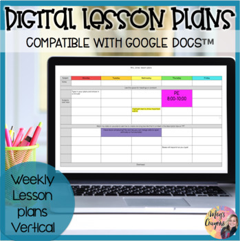 Google Doc-Weekly Lesson Plan Template by Meg\u0027s Crayons TpT - weekly lesson plan template