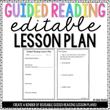 Guided Reading Lesson Plan Template {EDITABLE} TpT