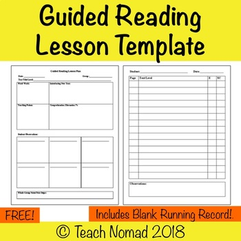 Guided Reading Lesson Plan Template with Running Record (Form 1) by