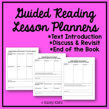 Guided Reading Lesson Plan Templates by Kasey Kiehl TpT - Guided Reading Lesson Plan Template