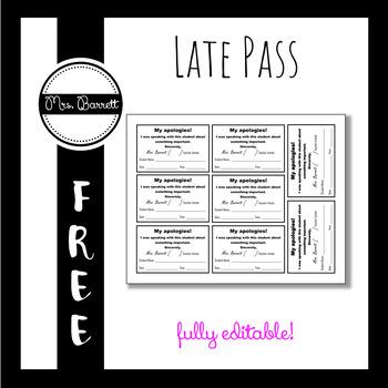 Hall Pass Template (Editable!) by Mrs Barrett Teachers Pay Teachers