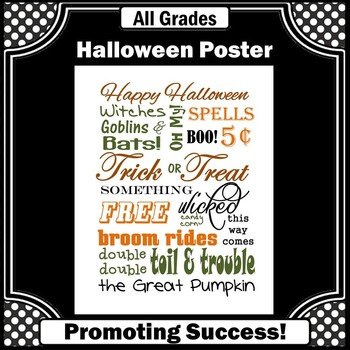 Printable Halloween Poster by Promoting Success TpT