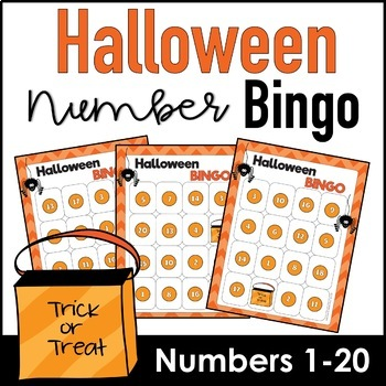 Halloween Number Recognition 1-20 Bingo Game by Hot Chocolate Printables